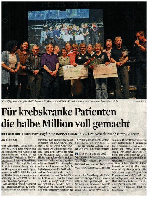 Scheckübergabe über 10.000€ bei der Oldie-Night 2011 im Firmenicher Zikkurat zu Gunsten der
